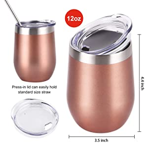 Set of 2 Stainless Steel Insulated Wine Glasses /& Beverage Tumbler 12oz