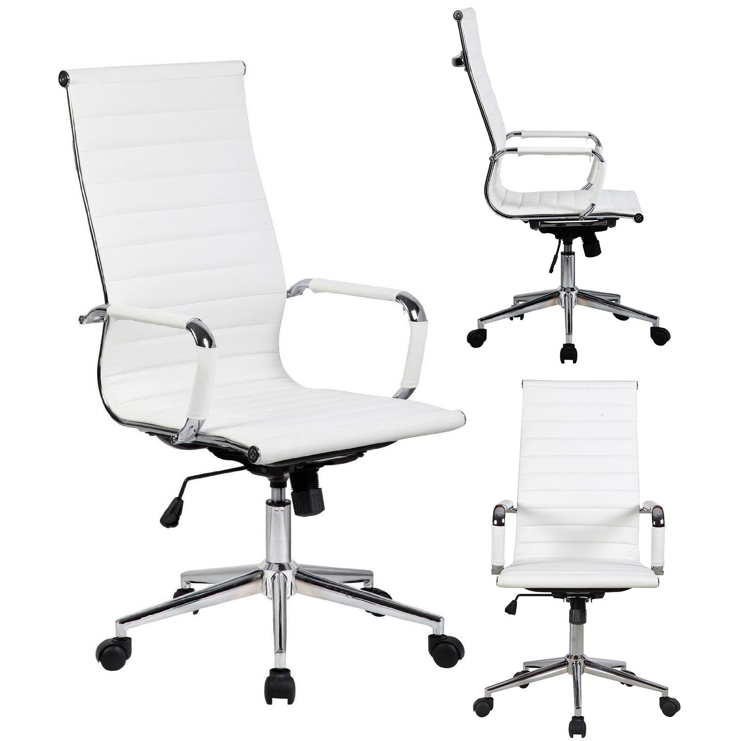 Chair Only In Total White Modern High Back Ribbed PU Leather Chair