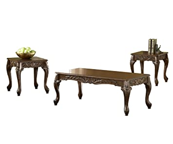Bernards Carved Coffee Table Set, Cherry, 3-Pack