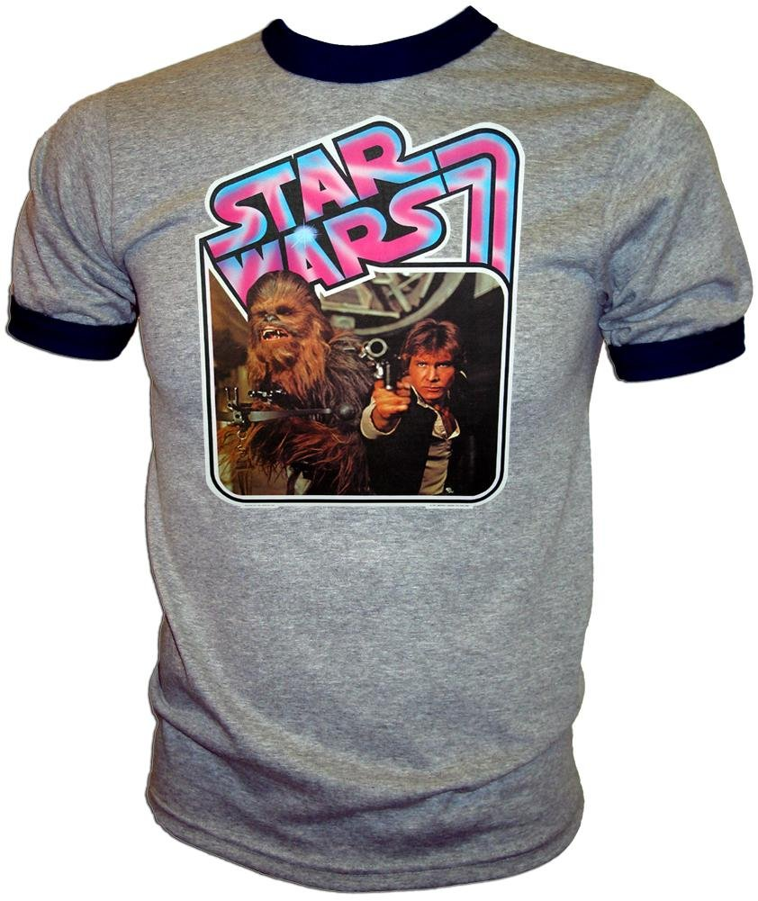 Han Solo & Chewbacca BLAST IT OUT Vintage Star Wars A New Hope Ringer T-Shirt 0