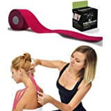 Kinesiology Tape for Athletes - Therapeutic Sports Tape for Injury and Performance - Ideal for Knee, Shoulder, Elbow, Ankle, Back, Neck Pain and Much More - 2 inches x 16.4 feet (Pink) (Color: Pink)