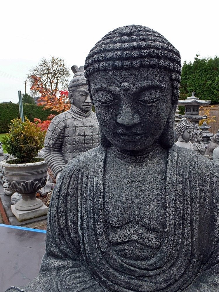 stein thai buddha feng shui steinfigur skulptur garten deko frostfrei h 64 cm a. Black Bedroom Furniture Sets. Home Design Ideas