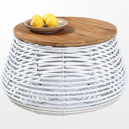 Table basse ronde en rotin blanc et son plateau en teck