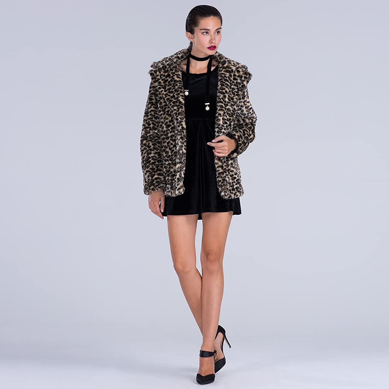 Choies Women Elegant Vintage Leopard Print Lapel Faux Fur Coat Fall Winter Outwear 3