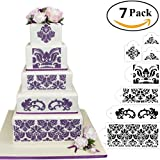 HULISEN 7Pcs Cake Decorating Stencil Mold Wedding Cake Stencil