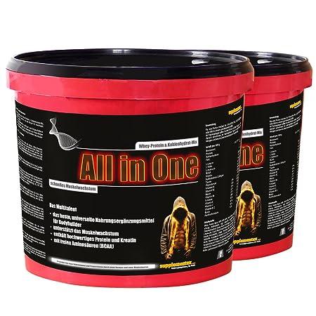 Das neue ALL in ONE! 2x2,6kg Cappuccinogeschmack Whey-Protein Kohlenhydrat-Mix Multitalent Muskelwachstum Anabolika hochwertiges Kreatin BCAAs Shake