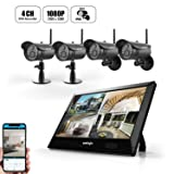 Wireless Security Camera System (4Pack), UNIOJO 1080P Outdoor and Indoor Home Camera Surveillance System DVR 4 Channel 2.0 Megapixel CCTV Kit with 10.1