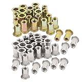60PCs 1/4-20 Rivet Nuts Nutsert Rivnuts Stainless Steel Carbon Steel 1/4-20UNC Rivetnuts (Color: Stainless Steel + Carbon Steel, Tamaño: 1/4