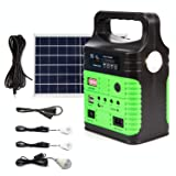 Portable Solar Generator Lighting System - UPEOR Solar Power Generator Kit for Emergency Power Supply,Home & Outdoor Camping,Including MP3&FM Radio,Solar Panel,3 Sets LED Lights(Green) (Color: Green, Tamaño: 33.3WH Solar Power Generator)