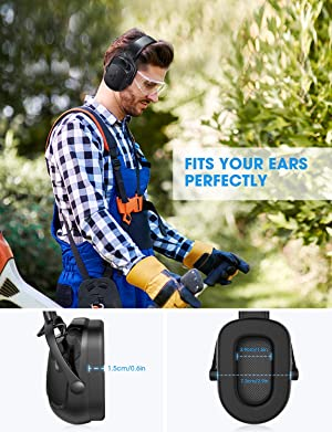 Mpow HP102A Bluetooth Noise Reduction Safety Ear Muffs, NRR 29dB/SNR 36dB Adjustable Ear Hearing Protection Headphones with 3.5mm AUX, Built-in Mic, Rechargeable Battery and Volume Control (Color: Black)