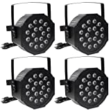 AW 4 Pack 18 LED 6 Channel DMX-512 Par Light RGB 18W DJ Club Wedding Family Party Disco Stage Night Lamp (Color: Pack of 4 Par Light, Tamaño: DMX-512 6 Channels)
