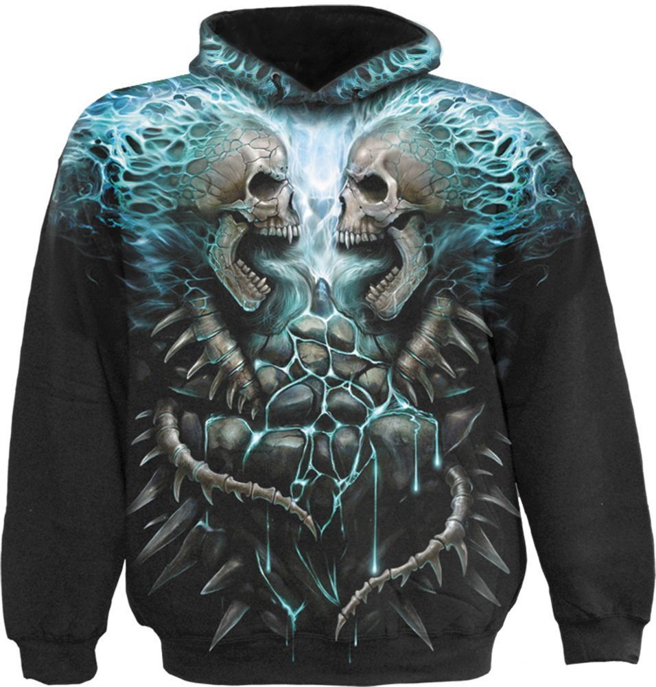 Spiral - Mens - FLAMING SPINE - Allover Hoody Black