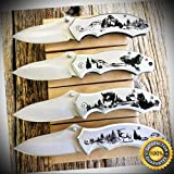 4 PC RAZOR Wildlife Spring Assisted Open Pocket Knife knives SET - Outdoor For Camping Hunting Cosplay