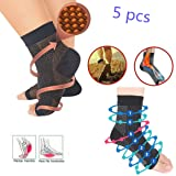 5 Pairs Vita-Wear Copper Infused Magnetic Foot Sleeve Support Compression Anti Fatigue,Recovery Foot Sleeves,Ankle Plantar Fasciitis Support Socks (Copper, L/XL) (Color: Copper, Tamaño: L/XL)