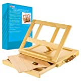 U.S. Art Supply Solana Adjustable Wood Desk Table Easel with Storage Drawer, Paint Palette, Premium Beechwood - Portable Wooden Artist Desktop, Board for Canvas, Painting, Drawing Sketching Book Stand (Color: Natural Finish, Tamaño: Standard Size)