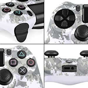 TNP PS4 / Slim / Pro Controller Skin Grip Cover Case Set - Protective Soft Silicone Gel Rubber Shell & Anti-slip Thumb Stick Caps for Sony PlayStation 4 Controller Gaming Gamepad (Camo Mosaic Brown) (Color: Camo Mosaic Brown)