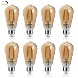 LED Edison Bulb 6W Vintage Light Bulb, 60W Equivalent 700 Lumen 2200k Amber Warm Glow, Dimmable Led Filament Bulbs E26 Medium Base, Decorative Clear Glass for Bathroom Kitchen Dining Room, Pack of 8 (Color: Amber, Tamaño: Dimmable)