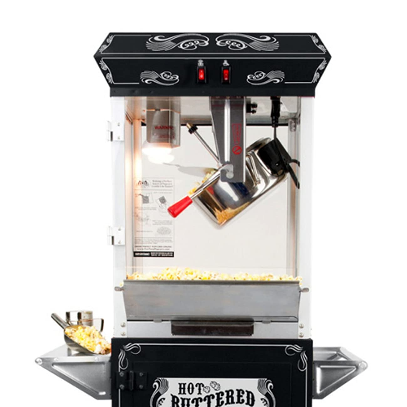 FunTime Sideshow Popper 4-Ounce Hot Oil Popcorn Machine with Cart, Black/Silver 3