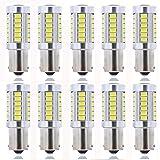 KaTur 10 x White 1156 T25 T-25 BA15S 1210 33-SMD LED Replacement 1073 1095 1141 7056 Car Lights Bulb LED Backup Signal Blinker Tail Light Bulbs 12V 5W 960 Lumens (Color: White, Tamaño: 10pcs 1156)