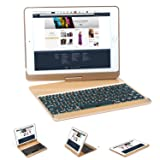 iPad Keyboard Case 9.7 (2017, 2018), Earto 7 Color Backlit Keyboard Case Folio Smart 360 Rotate Stand Keyboard Cover for iPad Air, iPad Air 2, iPad Pro 9.7 and 2017 New iPad 9.7(Gold) (Color: Gold)