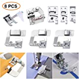 Inch),with 3Pcs Narrow Rolled Hem Presser Feet and Adjustable Guide Presser Foot, Bias Binder Foot for Singer, Brother etc (Color: 8 pcs Presser Feet)