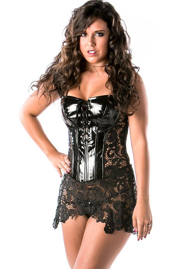 Lena Style Black Gothic Leather Burlesque Corset Bustier Lingerie W Lace M