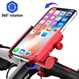 Venoro Bike Phone Mount with Charger [Detachable], Aluminum Alloy Bicycle Phone Holder Waterproof 360° Rotation Adjustable for iPhone 11 Pro Xs Max XR 8, Samsung Galaxy Note 10 5G S10 S9 Plus S8 (Red) (Color: Red)