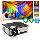 Wireless WiFi Bluetooth HDMI Projector 4200 Lumens Portable LED LCD Movie Gaming Projector 2019 Android 6.0 Smart Multimedia Video Proyector Support 1080P for Wii PC TV Stick USB Home Theater Outdoor (Color: Projector 4200Lumens-WiFi-Bluetooth)