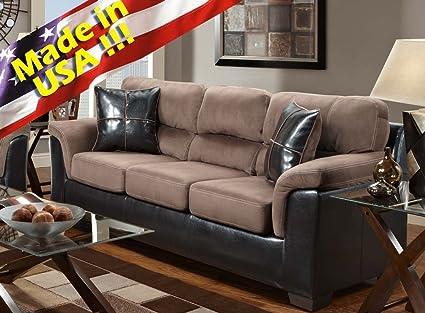Roundhill Furniture Laredo Brown 2-Tone Sofa, Chocolate