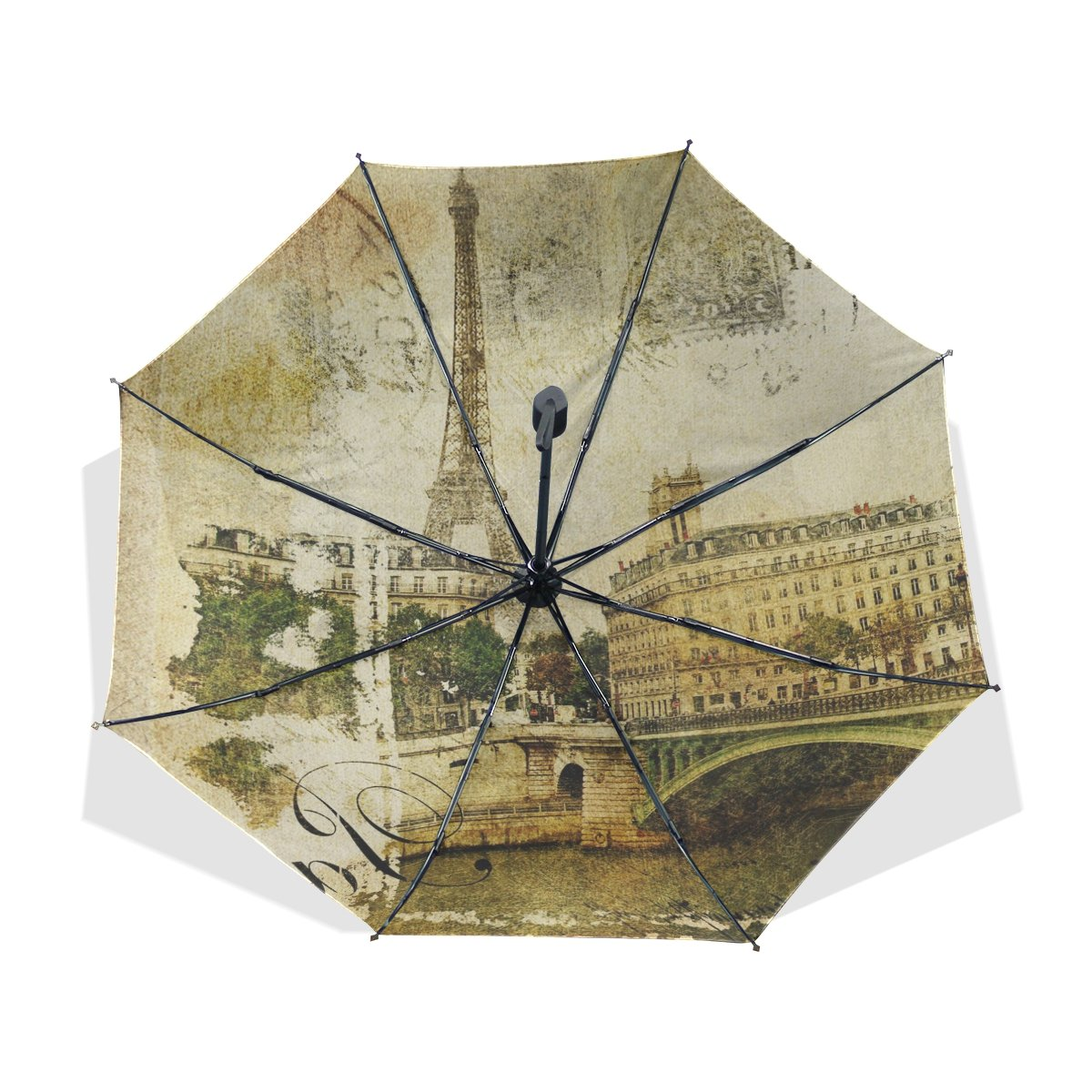 JSTEL Compact Ultra-light and Portable Travel Foldable Rain Umbrella Paris Vintage Pattern 3