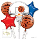 Andaz Press Balloon Bouquet Party Kit with Gold Cards & Gifts Sign, Basketball March Madness Party Foil Mylar Balloon Decorations, 1-Set (Color: Sports Basketball)