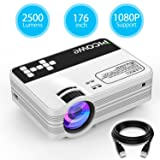 Mini Projector, Picowe Upgraded Version 2500 lumens Full HD LED Video Projector 1080P 176'' Display Multimedia Home Theater Projector Support HDMI, VGA, USB, AV, SD For Movie, XBOX, PS4, Laptop iPhone (Color: White)