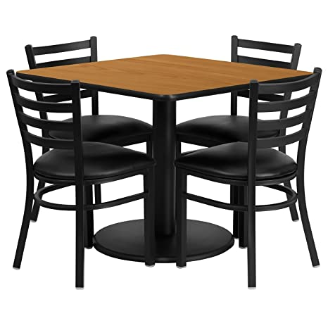 Flash Furniture RSRB1015-GG Square Natural Laminate Table Set with 4 Ladder Back Metal Chairs with Black Vinyl Seat, 36""
