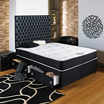 Deluxe Beds Ltd Black Divan Bed - 3Ft6 Large Single - No Storage - Brown Faux Leather