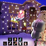 AOLOX SN-01 Snow Animated, Outdoor Halloween Christmas Decorative LED Snowfall Projector Lighting with Music Playback and Remote Control, Multicolor (Color: Multicolor)