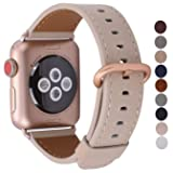 JSGJMY Compatible for Iwatch Band 38mm 40mm S/M Women Genuine Leather Loop Replacement Strap Compatible for iWatch Series 4 (40mm) Series 3 2 1 (38mm),Light tan with Series 4/3 Gold Clasp (Color: Light tan with Series 4/3 Gold Clasp, Tamaño: 38mm 40mm S/M)