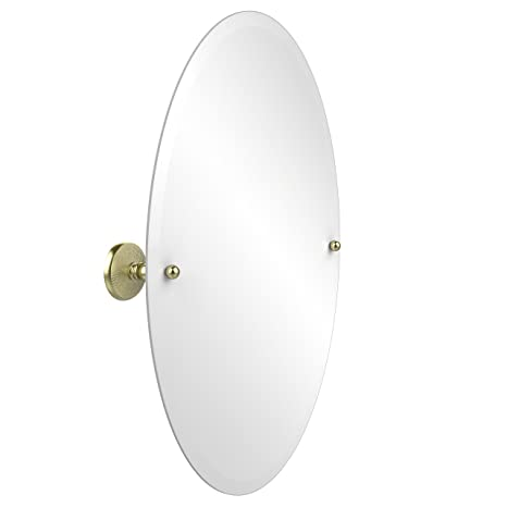 Allied Brass PMC-91-SBR  29-Inch X 21-Inch Oval Tilt Mirror, Satin Brass