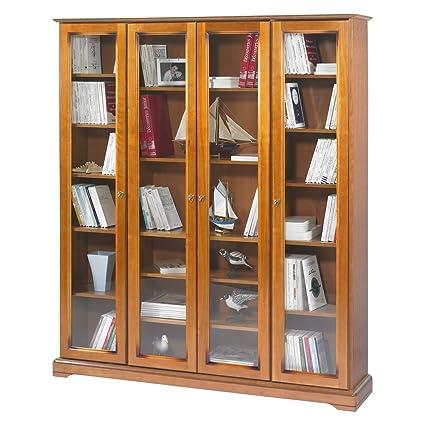 Beaux Meubles Pas Chers - Bibliothèque Louis Philippe 4 Portes Vitrées