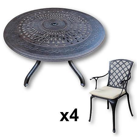 Lazy Susan - AMY 120 cm Runder Gartentisch mit 4 Stuhlen - Gartenmöbel Set aus Metall, Antik Bronze (EMMA Stuhle, Beige Kissen)
