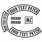 6 Pack Custom Embroidered MC Biker Patches, Personalized Embroidery Rocker Patch Rider Motorcycle Patches Back Name Patch Appliqued/Iron-on/Sew-on Veterans Jacket(White Fabric+Black Text+Black Border) (Color: White Fabric+Black Text+Black Border)