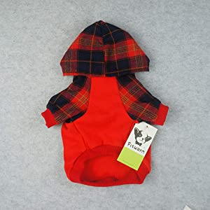 Fitwarm Plaid Pet Clothes for Dog Sweatshirts Cat Pullover Hooded Shirts Red XL (Color: Red, Tamaño: XL)