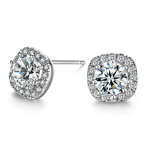 Platinum Plated Sterling Silver AAAA Cubic Zirconia Cushion Shape Halo Stud Earrings (1.90 cttw)