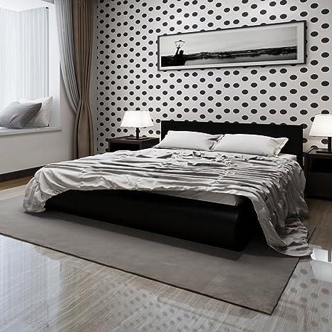 Cama de cuero artificial de 140 x 200 cm Negro