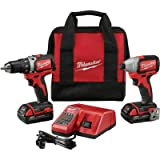 Milwaukee 2798-22CT-18V Compact Brushless Drill/Brushless Impact Combo Kit (2 Tool) + 2 Li-Ion Battery(18V/1.5Ah) + Multi-Voltage Charger(12-18V) + Belt Clip + Contractor Bag (Color: Red)