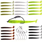 YONGZHI Fishing Lures for Bass Trout Walleye Paddle Tail Swimbaits and Lizard Lure Fishing Worms with Weighted Fishing Hooks for Freshwater and Saltwater Fishing (Color: Type A-2.56inch Paddle with Hooks, Tamaño: 2.56inch)