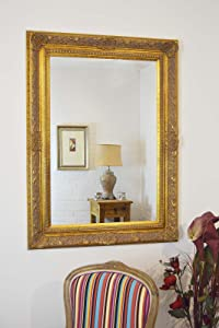 Large Antique Gold Ornate Embossed Shabby Chic Framed BEVELLED Wall / Overmantle Mirror 46inch x 34inch (117cm x 86cm) Stunning Quality   Ready to Hang   ITV Show Supplier       review and more information