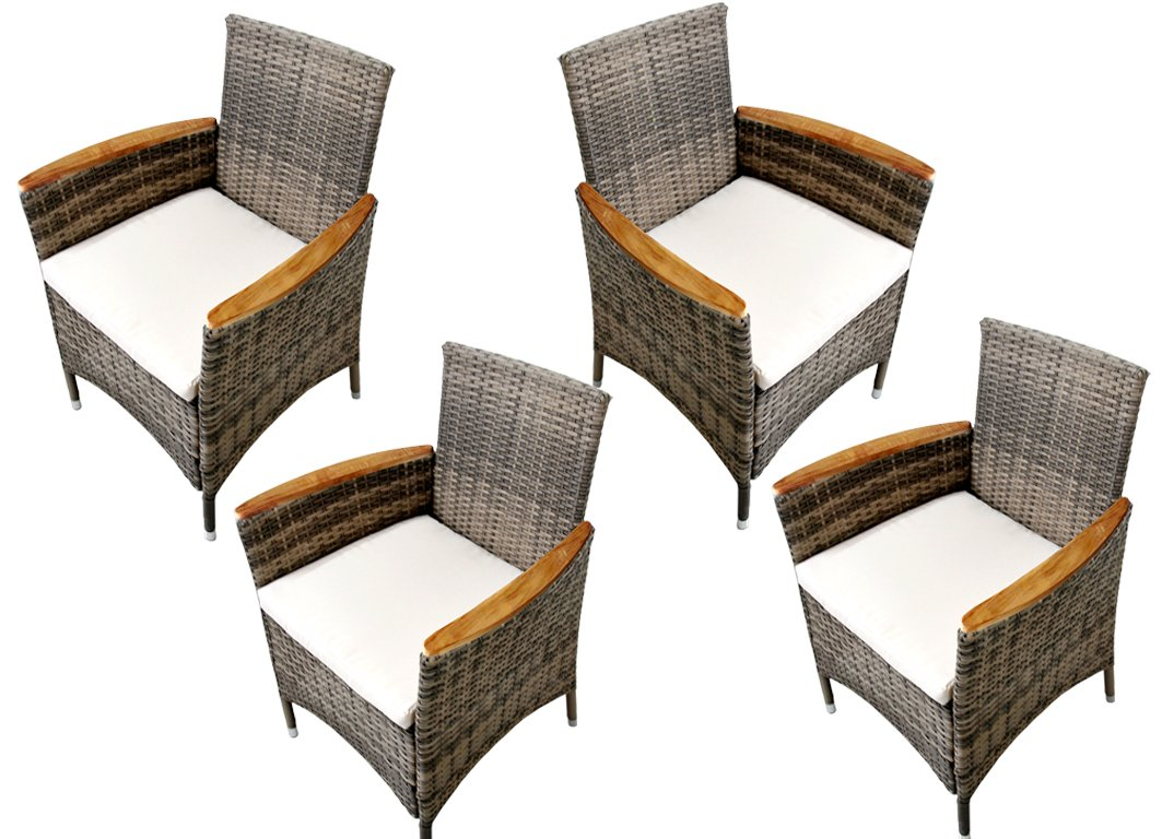 Ambientehome Polyrattan Stuhl Sessel Lubango, grau-beige, 4-teiliges Set