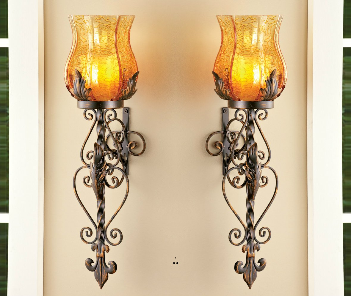 Set of 2 Bronze Elegant Scrollwork Decorative Hurricane Amber Glass Candle Holder Sconce Metal Vintage Style Decorative Home Accent Decoration 0