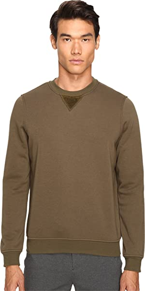 ATM Anthony Thomas Melillo Men's Crew Neck Sweatshirt w/ Elbow Patches Army Sweatshirt MD