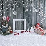 SJOLOON Christmas backdrops for Photography 10x10ft Wood Wall Backdrop Snowflake Photo Background Vinyl Studio 11194 (Color: 11194, Tamaño: 10X10FT)